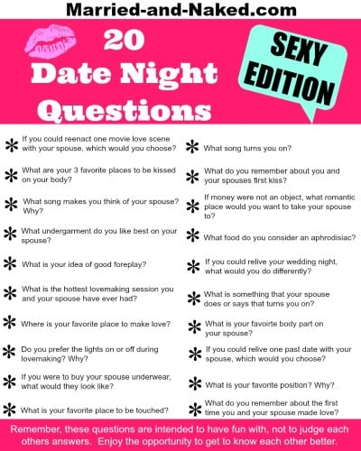 20 Sexy Date Night Questions For Married Couples - Free Printable