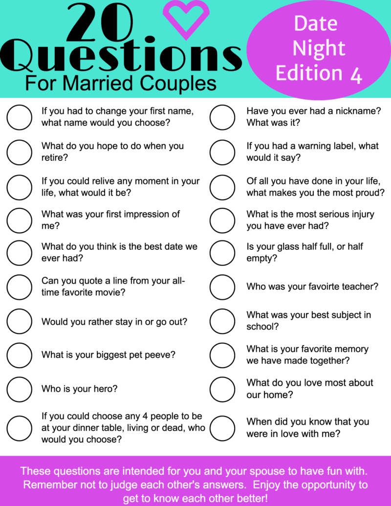 20 date night questions for married couples - Married and